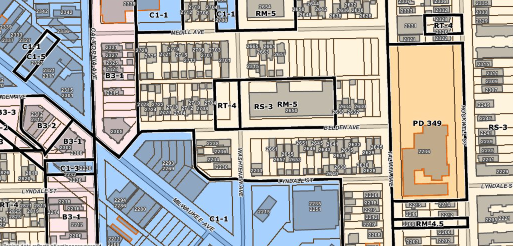 zoning districts around the California Blue Line station