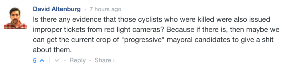 David's comment about cyclist fatalities and red light cameras