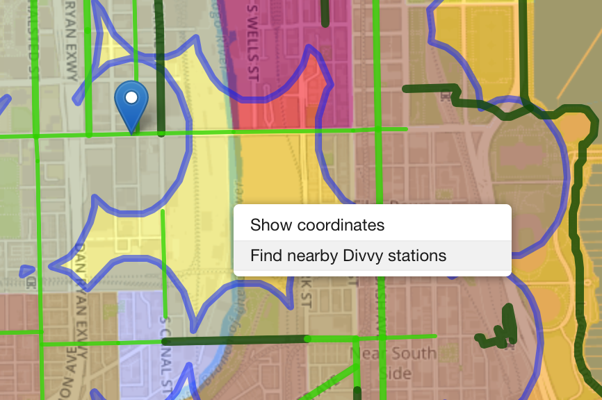 """Right-click the map and select """"Find nearby Divvy stations"""" and Turf will locate the nearest Divvy station."""