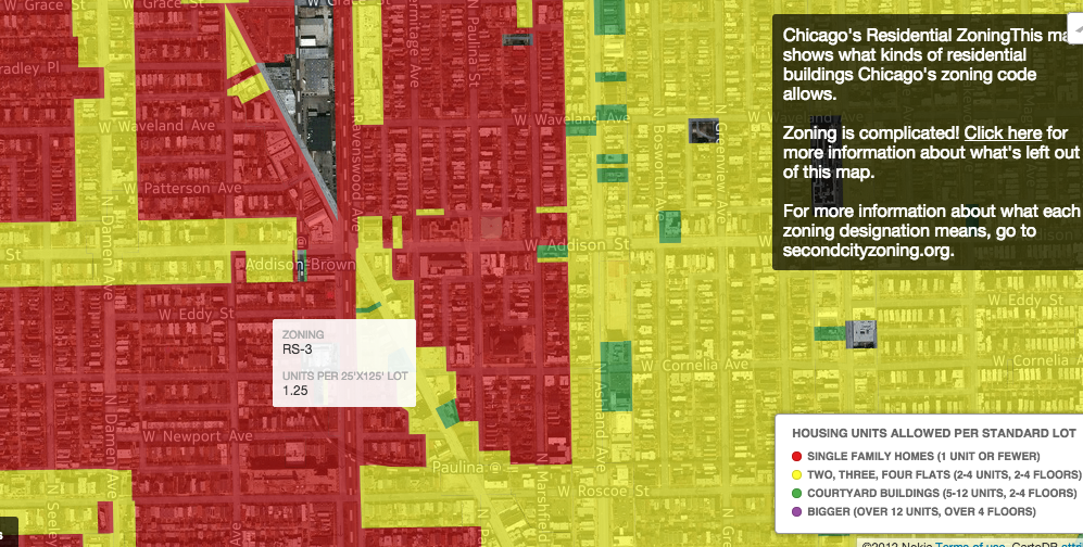 Red areas are zoned for single-family homes only.